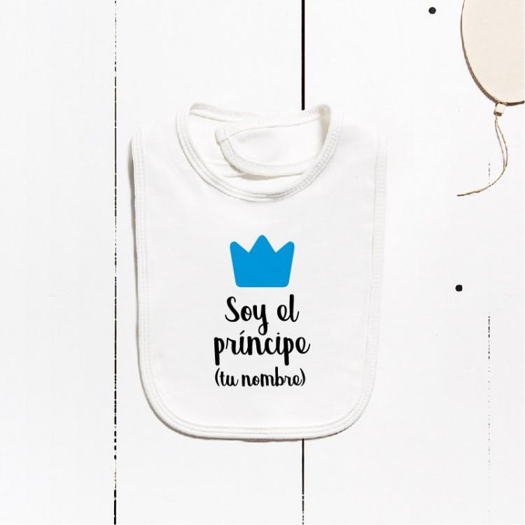 Bavoir en coton - Je suis le prince (PERSONNALISABLE)