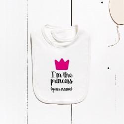 Bavoir en coton - Je suis la princesse (PERSONNALISABLE)