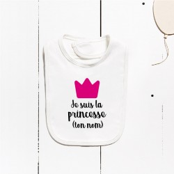 Bavaglino in cotone - I am the princess (PERSONALIZZABILE)