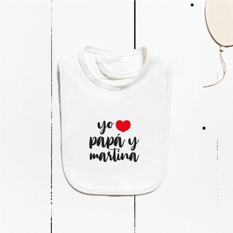 Babero algodón - Yo amo a... (PERSONALIZABLE)